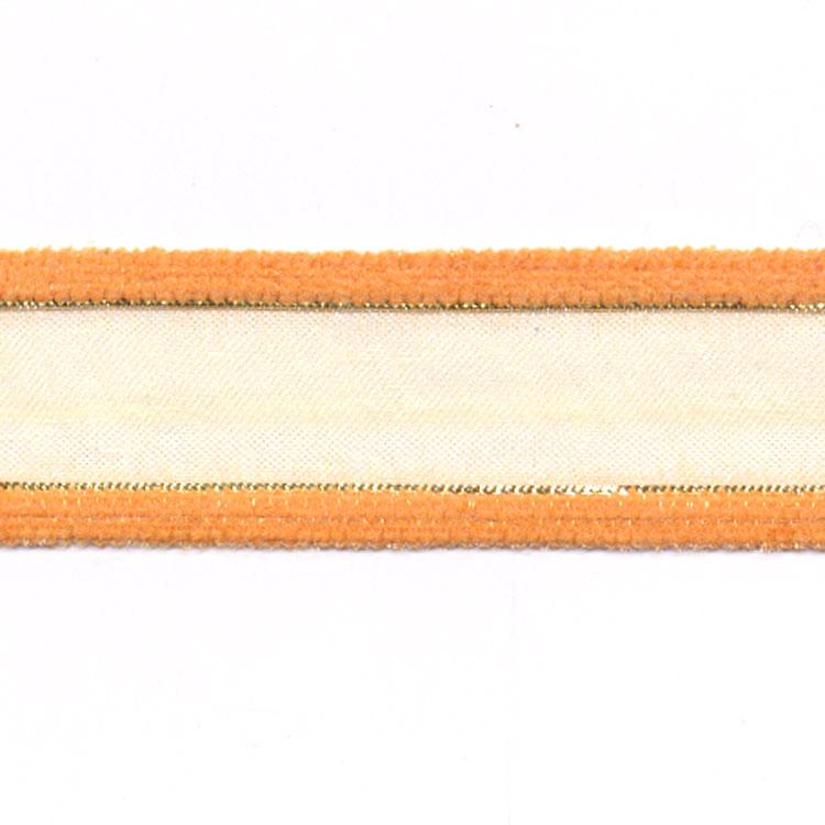 Lint 25 mm voile met fluweel oker geel 50 cm op op internetwinkel - Geel fluweel ...
